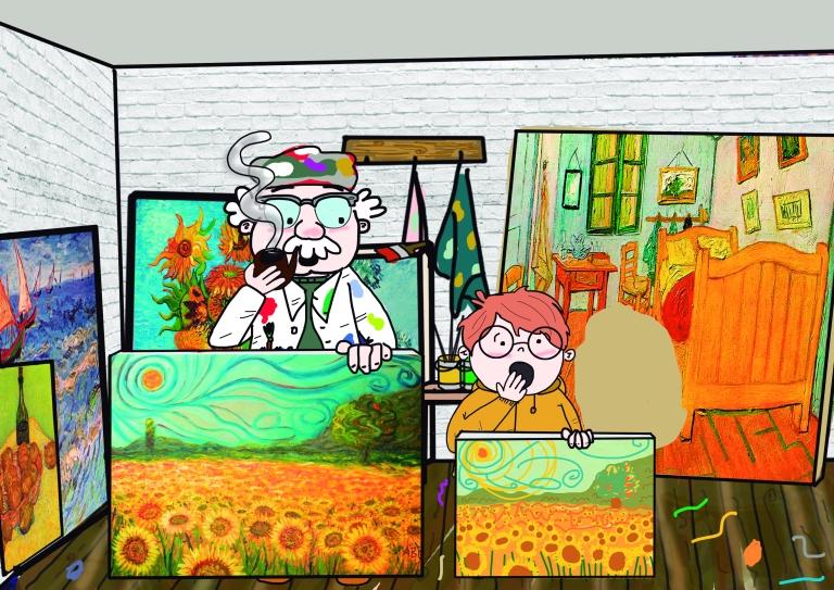 en el estudio enseñando cuadros